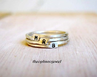 Tiny Initial Silver Ring/ Sterling Silver Letter Stacking/ Personalized with Initial/ Set of Three Stacking Rings/ Midi Knuckle Ring/
