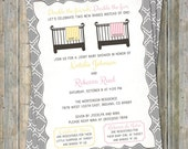 Joint Baby Shower Invitation, crib and blanket, surprise/girl, yellow and pink Digital, Printable file