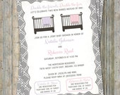 Joint Baby Shower Invitation, crib and blanket, two girls, purple and pink Digital, Printable file
