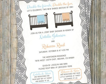 Joint Baby Shower Invitation, crib and blanket, boy/surprise, light blue and orange Digital, Printable file