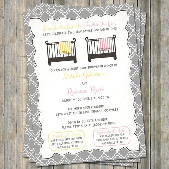 Joint Baby Shower Invitation crib and blanket surprise/girl