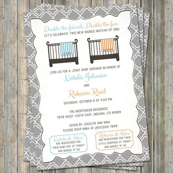 Baby Shower Invitations Wording For Boys: Joint Baby Shower Invitation Crib And Blanket Boy/surprise