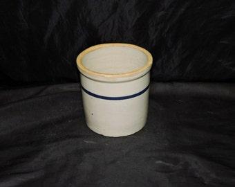 Vintage Stoneware Crock Beige Salt Glaze With Blue Stripe Stone Ware Jar Farm Country Kitchen