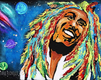 Bob marley painting, print, poster, rasta, Jamaican, one love, iron lion zion, wall art, reggae, hippie, peace, space, dreads, music, hair