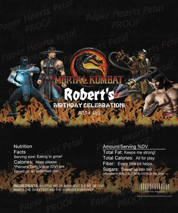 Personalized Mortal Kombat Candy Bar Wrappers,  Printed pack of 30 wrappers - Foil wrap included - Two Options Available