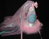 Princess Carriage Birthday Hat Teal Pink Any Age Veil Birthday Hat Cake Smash Machine Embroidered