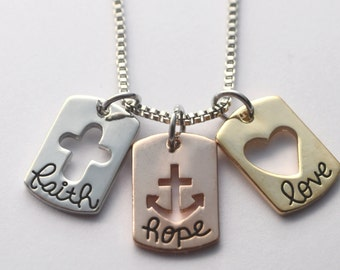 Faith Hope Love Necklace or bracelet - Adult Baptism gift - plated metal - mixed metals - necklace or expandable bracelet
