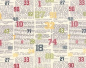 moda fabric  by the half  yard VARSITY- SWEETWATER- Sports Column Multi color numbers -5591-11
