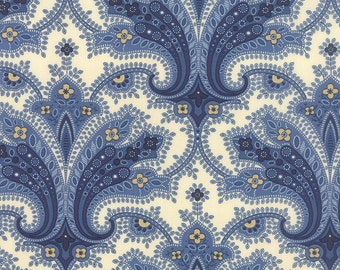 POLKA DOTS & PAISLEYS  Moda by the half yard cotton quilt fabric large cream blue paisley Minick and Simpson 14801-22