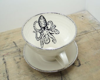 Octopus Porcelain Tea Cup & Saucer or Mug-White and Silver, Wedding Gift, Gift for Guys, Beach House Decor,