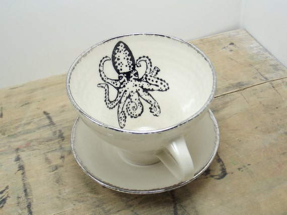 Octopus White and Silver Porcelain Large Tea Cup & Saucer