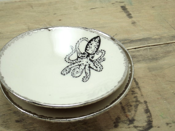 Octopus White & Silver Porcelain Small Bowl, Jewelry Dish, Ring Dish, Dipping Bowl