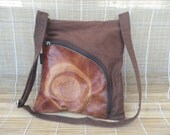 Vintage Brown Textile Canvas Zip Up Top Hobo Shoulder Bag Purse
