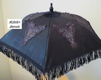 VICTORIAN PARASOL Umbrella with Cut Out Appliques on Black Moire Taffeta with Black Fringe Bridal Wedding Steampunk Sun Shade Second Line