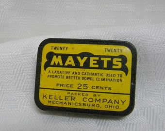 1940s Mayets Laxative tin vintage pharmaceutical tin