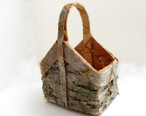 Birch Basket - Miniature wood basket, rustic wedding favor, American Girl doll accessory, spring wedding, summer wedding, autumn wedding