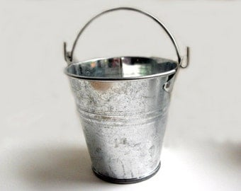 Galvanized Bucket - 5 inch silver metal bucket, stainless steel bucket, flower girl bucket, rustic wedding decor, bucket planter, metal pail
