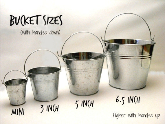 Silver galvanized bucket 3 metal bucket small pail by dabhands for Small pail buckets