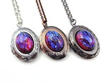 Small Mexican Opal Locket - Dragons Breath Locket in Antique Silver, Copper or Gunmetal - Color Shifting Blue Red Opal Amulet Necklace