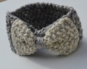 Large bow infinity ear warmer - knit bow ear warmer - knit headband - Bow accessories - marble grey / oatmeal - gift under 50