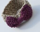 Large bow infinity ear warmer - knit bow ear warmer - knit headband - Bow accessories - oatmeal / fig - gift under 50