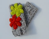 Knit fingerless gloves - hand warmers - arm / wrist warmers - texting gloves with flower - all season