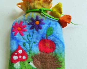 hot water bottle, felted cosy, cover, handmade, Felted Art To Wear, felted wool, MADE TO ORDER, waldorf inspired, fairy tales, hedghog,apple