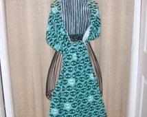 Aqua and Black Skull Flannel Pasmina Scarf/Wrap extra long wide warm cozy