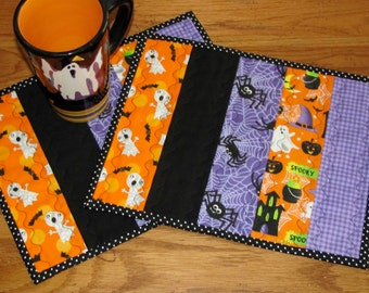 Halloween Mug Rugs in Purple/Black Spider Orange Ghost Coordinating Fabric Candy Corn Accent Fabric with Wave Quilting - Mug Mats Set of Two