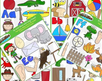 Aa to Zz Short and Long Vowel Clip Art / Line Art Mega Bundle - 474 Graphics