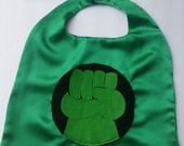 Babies Hulk  Superhero Capes in satin with matching Mask and cuffs in Felt, Photo Prop