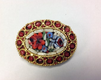 Red Mosiac Pin Brooch