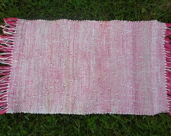 Rag Rug Pink Strings With White Recycled Sock Loops Hand Woven Shabby Chic Boho Beach Decor