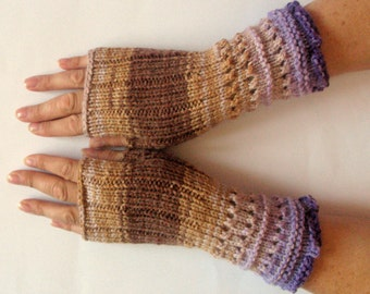 Fingerless Gloves Brown Beige Violet Purple wrist warmers