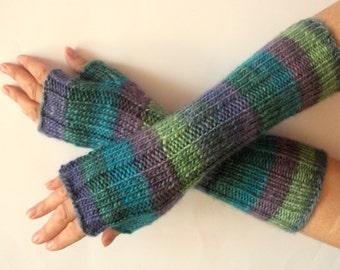 Fingerless Gloves Wrist Warmers Mittens Green Blue Salad Turquoise Purple Knit