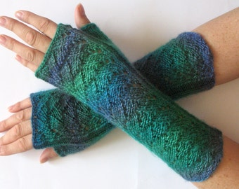 Fingerless Gloves Wrist Warmers Mittens Green Blue Purple Knit
