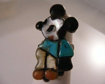Zuni Inlaid Mickey Mouse Ring by Mary Poncho, Signed ..... Lot 4214