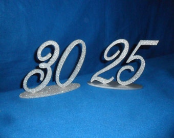 """6"""" Table Numbers set 1-10 with 1/4""""  Base MDF / WOOD Wedding Font  Painted and or Glitter"""