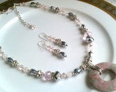 CLEARANCE SALE Was 35.00 Now 17.50 Pink Rhodonite, Rose Quartz, Glass Crystals,  Necklace and Earrings Set, Gift for Her
