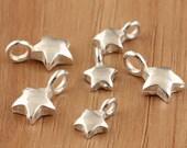 925 sterling silver star charms, bright silver star pendant, bracelet diy, sterling silver star