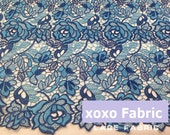 Luxury Lace Fabric mixed blue roses by 1 yard, wedding lace bridal lace fashion design supplies