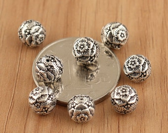 925 sterling silver mala beads, 7mm peony flower antique silver beads, bracelet diy,hill tribe silver beads
