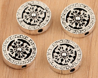 925 sterling silver beads, round beads,Chrome Hearts style,circular beads,hill tribe silver beads