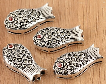 925 sterling silver marcasite beads, antique silver beads, fish beads, animal beads,marcasite with silver
