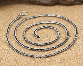 925 sterling silver fishbone necklace, 2mm silver snakebone necklace, bright silver necklace, antique silver necklace