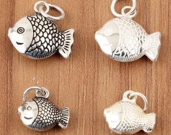 925 sterling silver fish charms, bright silver fish. antique silver fish, fish pendant, bracelet diy, sterling silver fish