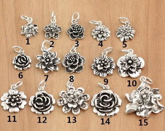 925 Sterling  Silver flower charms, antique silver flower charms, sterling silver flower