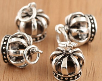 925 sterling silver Crown charms, antique silver Crown charm. mini Crown pendant, mini silver Crown