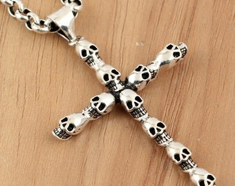 925 sterling silver skull cross charms, antique silver cross. cross pendant, skull pendant, silver accessories