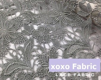 Gray Lace Fabric, pentas flowers hollowed embroidery lace supplies fashion design